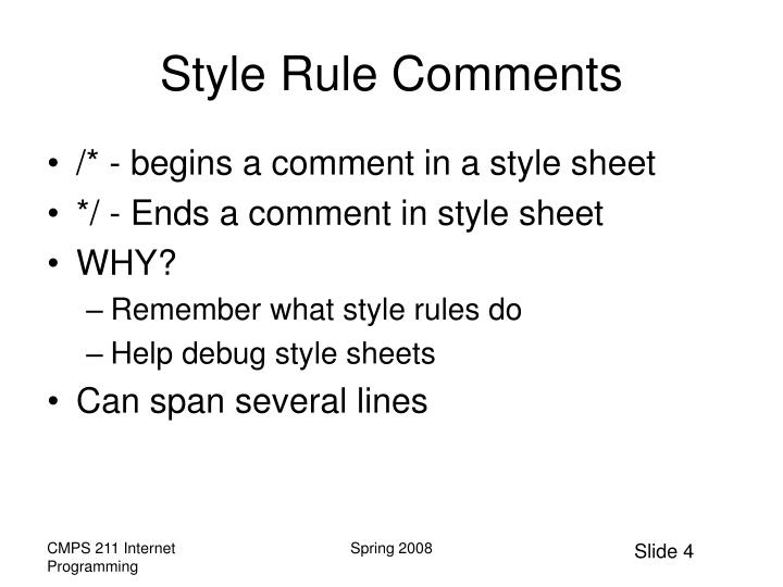 Style Rule Comments