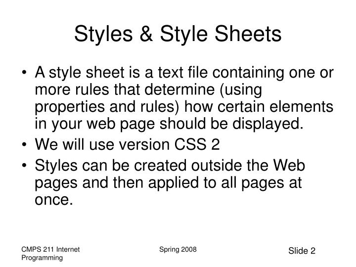 Styles style sheets