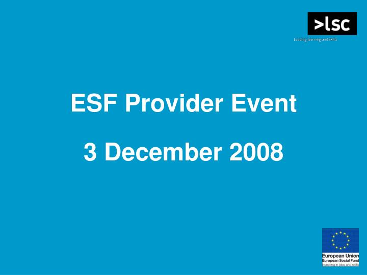 ESF Provider Event