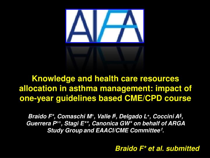 Knowledge and health care resources allocation in asthma management: impact of one-year guidelines based CME/CPD course