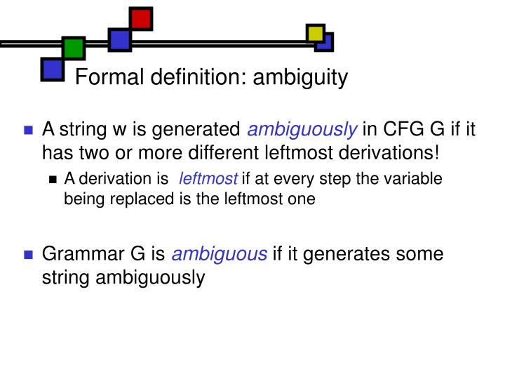 Formal definition: ambiguity