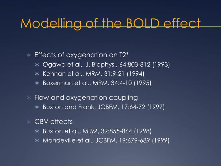 Modelling of the BOLD effect
