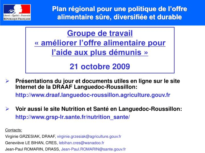 Plan régional pour une politique de l'offre alimentaire sûre, diversifiée et durable