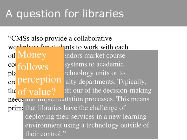 A question for libraries