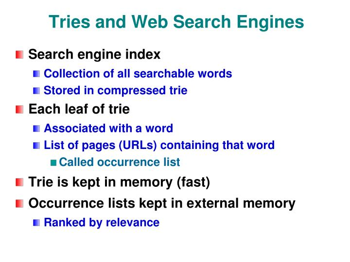 Tries and Web Search Engines
