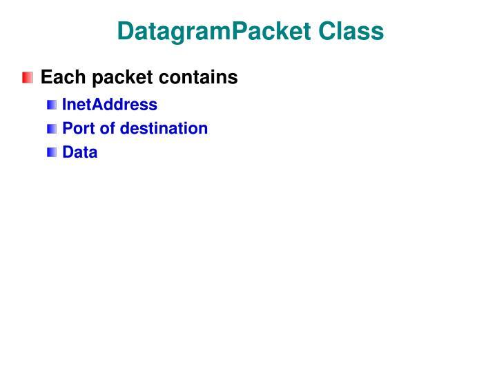 DatagramPacket Class