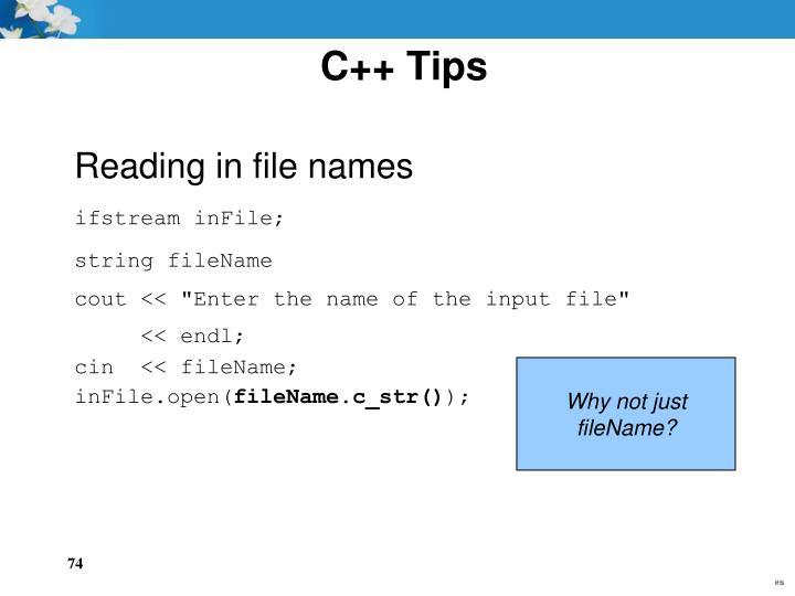 C++ Tips