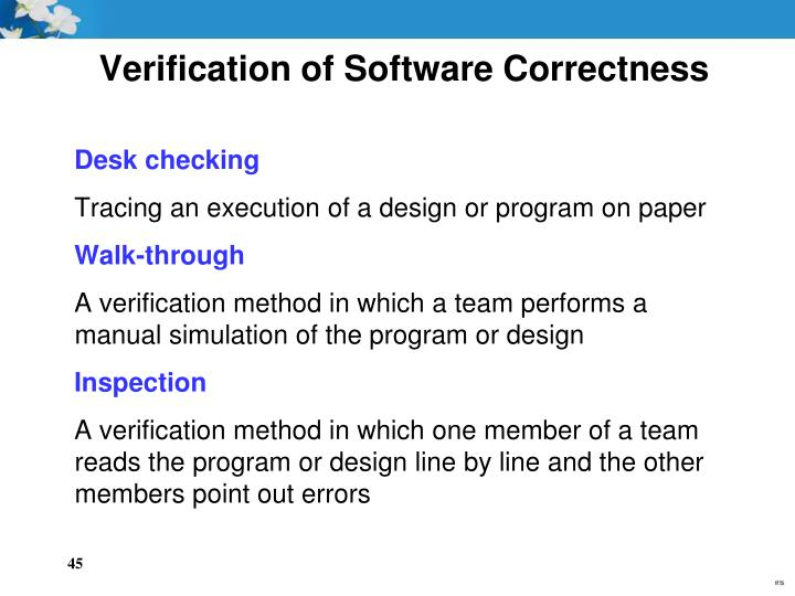 Verification of Software Correctness