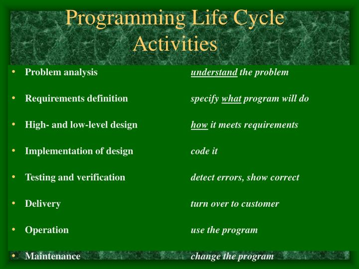 Programming Life Cycle Activities