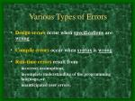 various types of errors