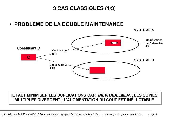 3 CAS CLASSIQUES (1/3)