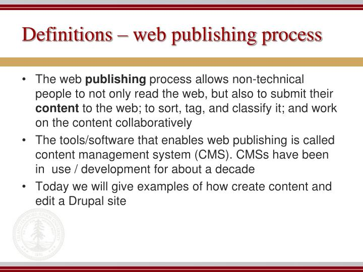 Definitions web publishing process