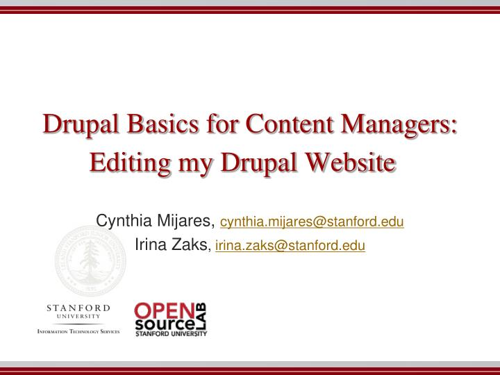 Drupal basics for content managers editing my drupal website