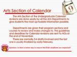 arts section of calendar