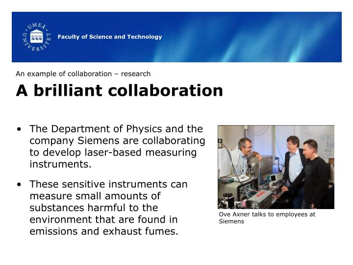 An example of collaboration – research