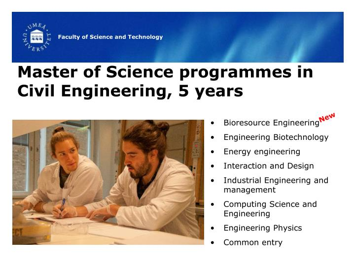 Master of Science programmes in Civil Engineering, 5 years