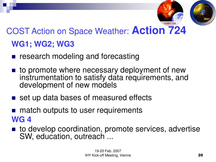 COST Action on Space Weather: