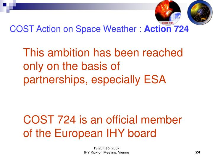 COST Action on Space Weather :