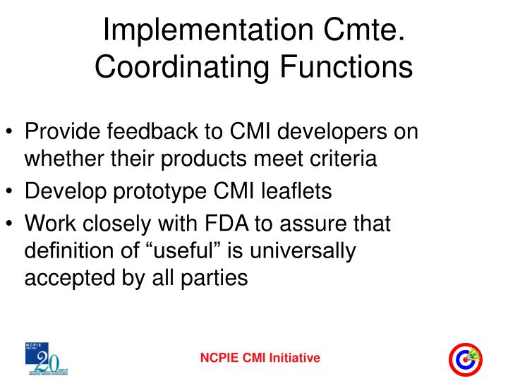Implementation Cmte. Coordinating Functions