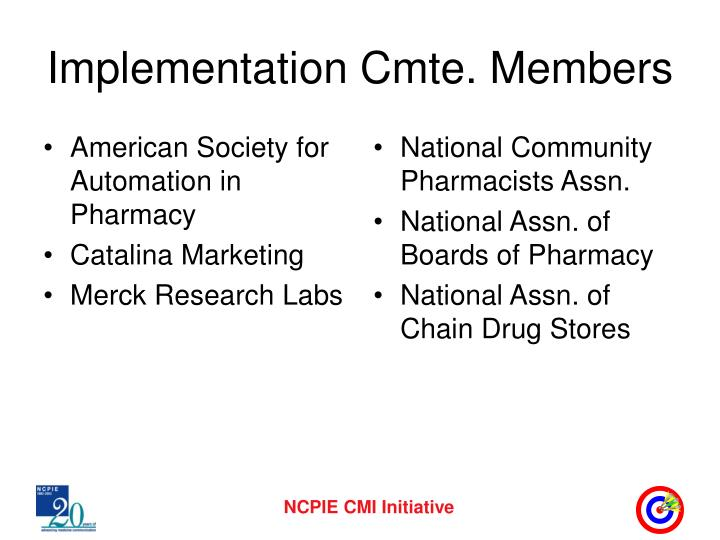 Implementation cmte members