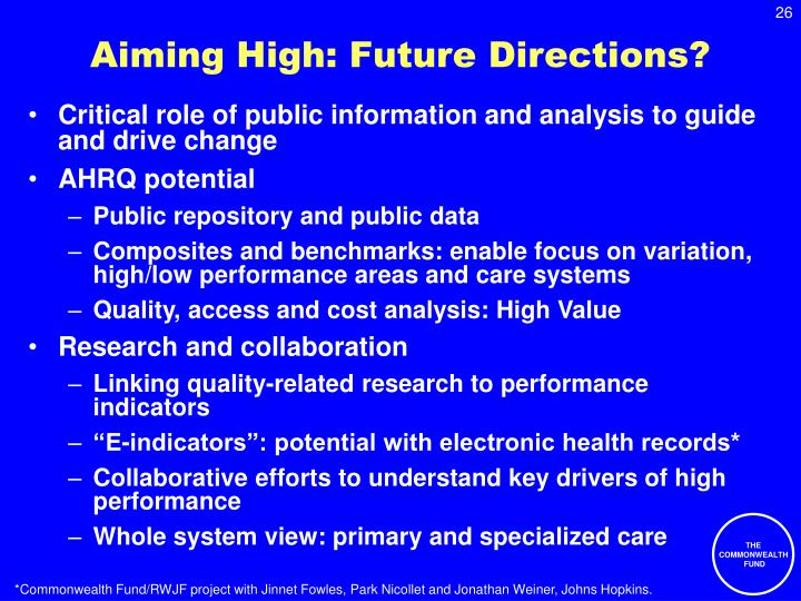 Aiming High: Future Directions?