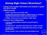 aiming high future directions