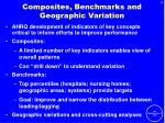 composites benchmarks and geographic variation