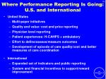 where performance reporting is going u s and international