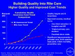 building quality into rite care higher quality and improved cost trends