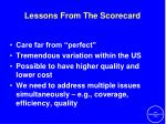 lessons from the scorecard