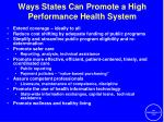 ways states can promote a high performance health system