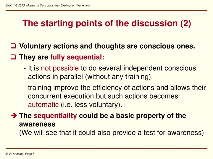The starting points of the discussion (2)