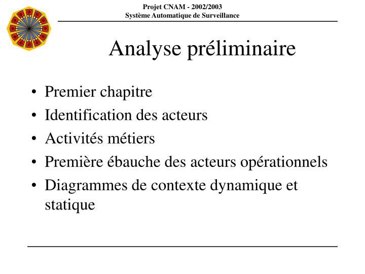 Analyse préliminaire