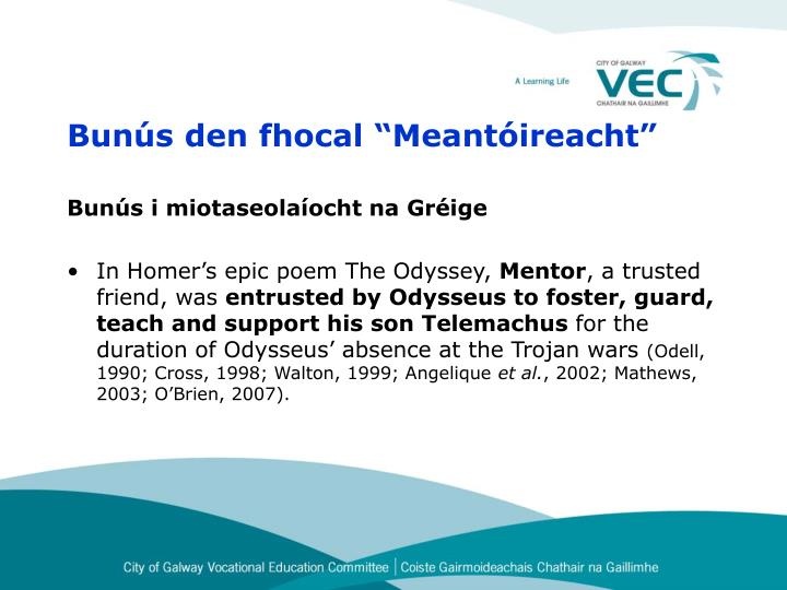 """Bunús den fhocal """"Meantóireacht"""""""