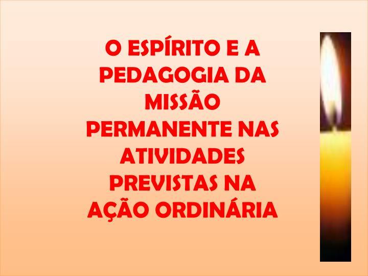 O ESPÍRITO E A PEDAGOGIA DA MISSÃO PERMANENTE NAS ATIVIDADES PREVISTAS NA AÇÃO ORDINÁRIA