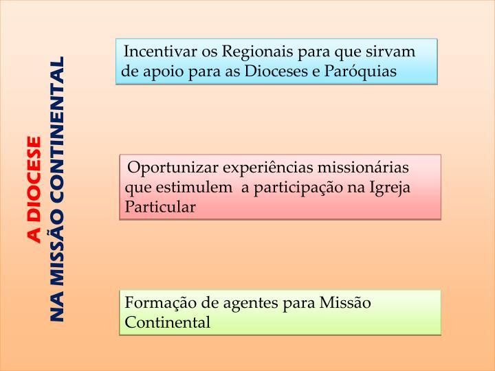 Incentivar os Regionais para que sirvam de apoio para as Dioceses e Paróquias