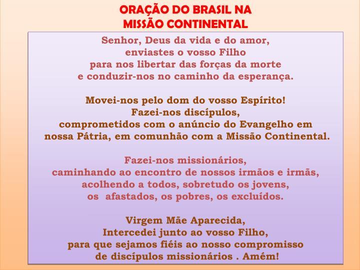 ORAÇÃO DO BRASIL NA MISSÃO CONTINENTAL