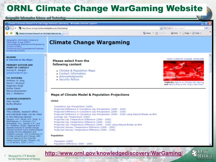 ORNL Climate Change WarGaming Website