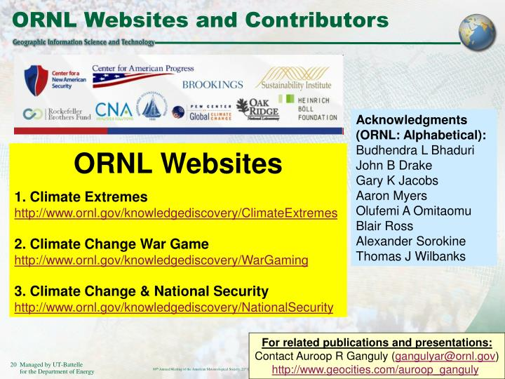 ORNL Websites and Contributors