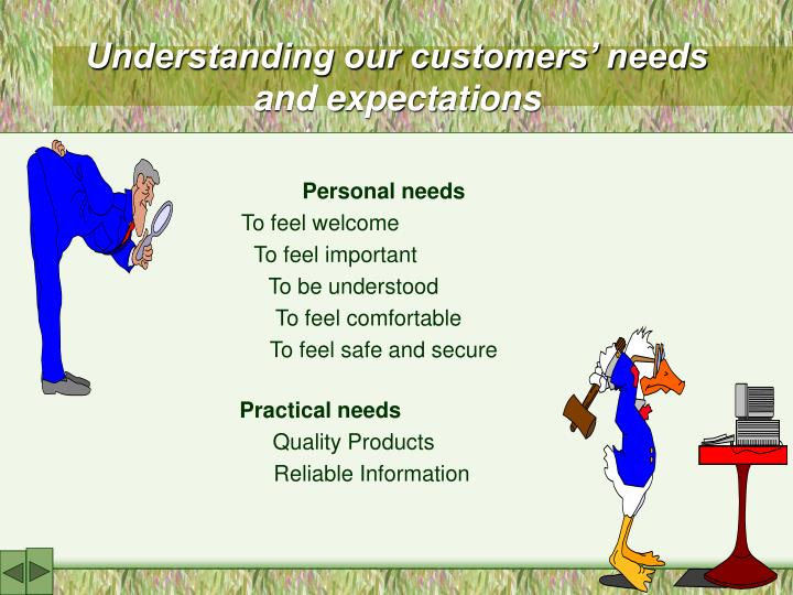Understanding our customers' needs       and expectations