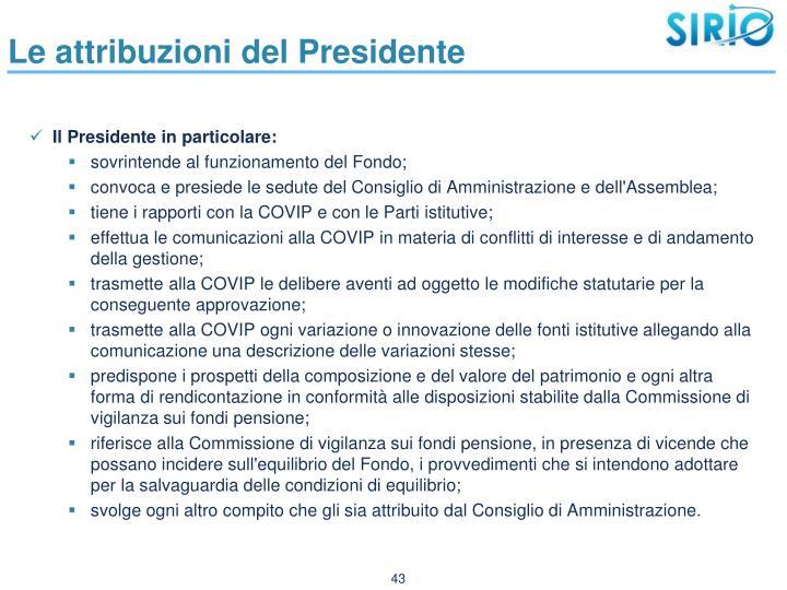 Le attribuzioni del Presidente