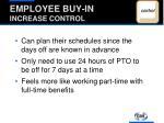 employee buy in increase control