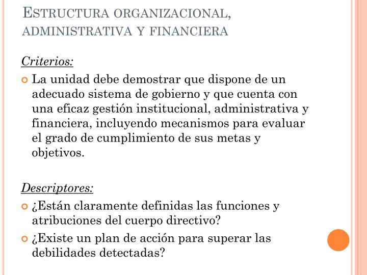 Estructura organizacional, administrativa y financiera