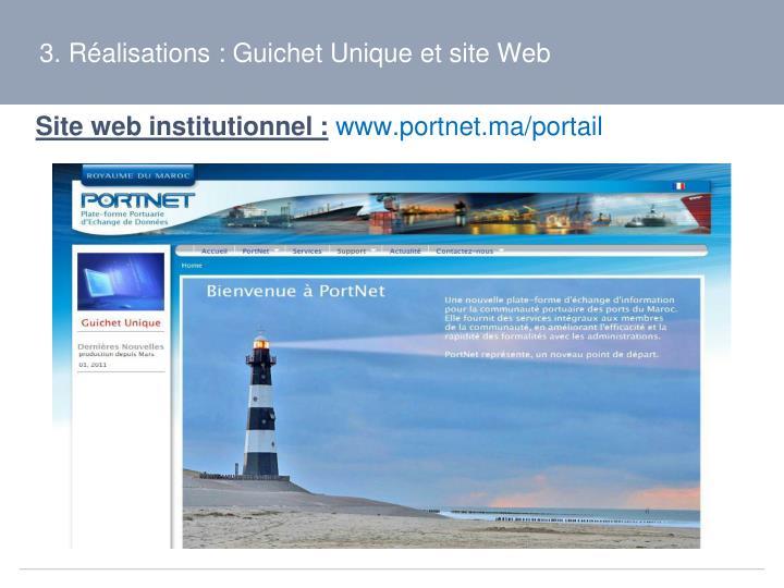 3. Réalisations : Guichet Unique et site Web