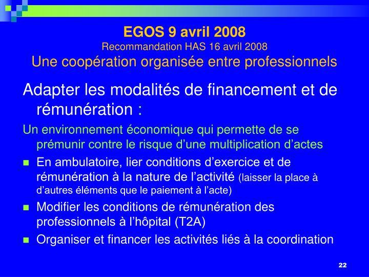 EGOS 9 avril 2008