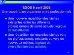 egos 9 avril 2008 une coop ration organis e entre professionnels