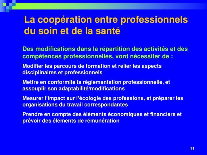 La coopération entre professionnels du soin et de la santé