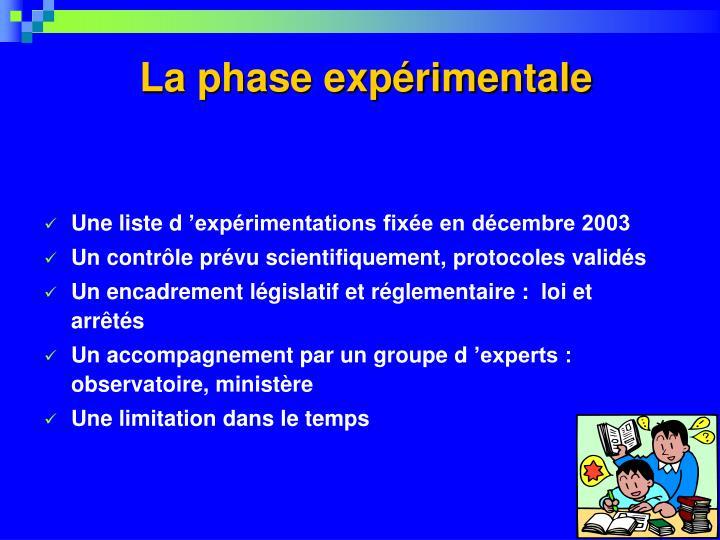 La phase expérimentale