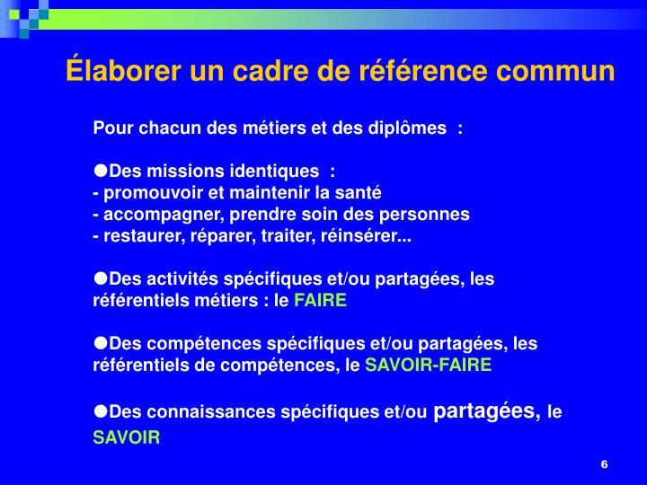 Élaborer un cadre de référence commun
