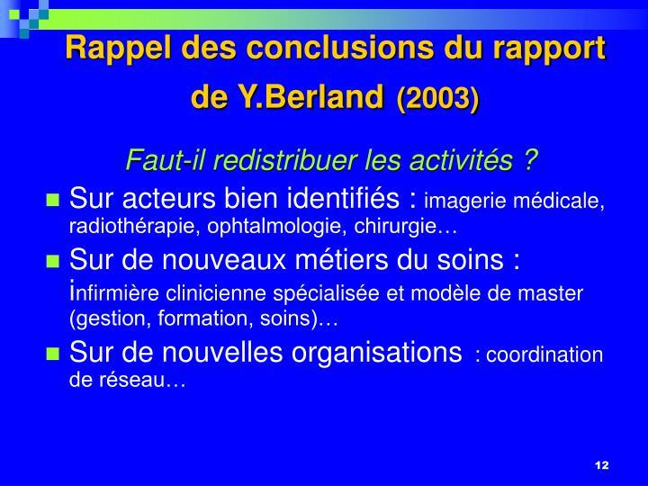 Rappel des conclusions du rapport de Y.Berland